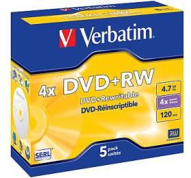 Verbatim DVD+RW 4,7GB, 4x, jewel box, 5ks