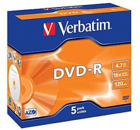 Verbatim DVD-R 4,7GB, 16x, jewel box, 5ks