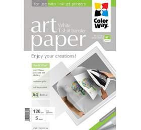 COLORWAY nažehlovací papír/ nasvětlý textil/ 120g/m2, A4/ 5kusů