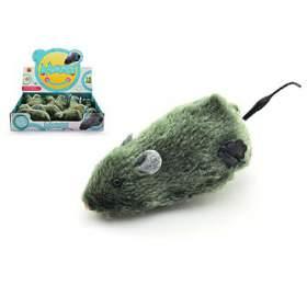 Myš naklíček plast/plyš 12cm 12ks vboxu