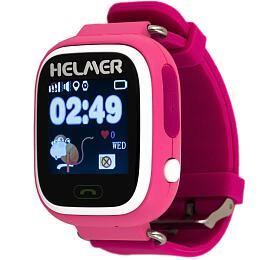 HELMER dětské hodinky LK 703 s GPS lokátorem/ dotykový display/ micro SIM/ IP54/ kompatibilní s Android a iOS/ růžové