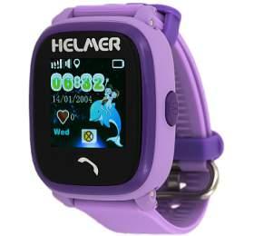 HELMER dětské hodinky LK 704 s GPS lokátorem/ dotykový display/ micro SIM/ IP67/ kompatibilní s Android a iOS/ fialové