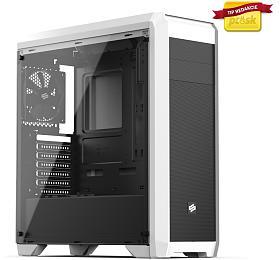SilentiumPC skříň Regnum RG4TF Frosty White TG/ celoskleněná bočnice/ATX/čtečka SD/ USB 3.0 /regulace otáček/ bílá