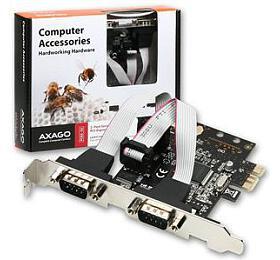 AXAGON PCEA-S2, PCI-Express adapter 2x sériový port + LP