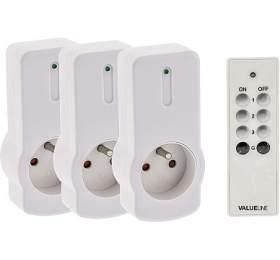 VALUELINE sada dálkově ovládaných zásuvek dointeriéru/ bílá/ 3ks