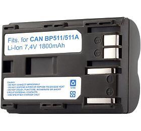 TRX baterie Canon/ 1800 mAh/ pro EOS D30/ D60/ 10D/ 20D/ 30D/ 40D/ 50D/ 5DDM-MVX1i/ DM-MV30/ neoriginální