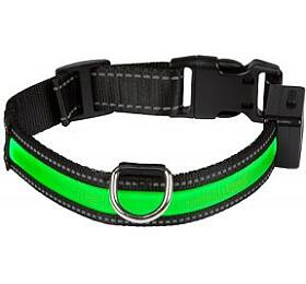 Svítící obojek , M, zelený Num'axes