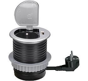 Solight USB vestavná zásuvka svíčkem, 1zásuvka, plast, kruhový tvar, prodlužovací přívod 1,5m, 3x1mm2, USB 2100mA, stříbrná