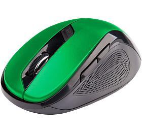 C-TECH WLM-02, černo-zelená, bezdrátová, 1600DPI, 6 tlačítek, USB nano receiver