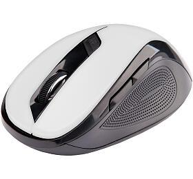 C-TECH WLM-02, černo-bílá, bezdrátová, 1600DPI, 6 tlačítek, USB nano receiver