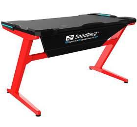 Sandberg herní stůl, Fighter Gaming Desk, červeno-černý