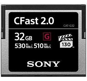 SONY G Series CFast 2.0 Memory Card, read 530MB/s, write 510MB/s, Video Speed Class VGP130, záruka 5let