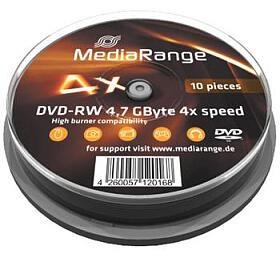 MEDIARANGE DVD-RW 4,7GB 4xspindl 10pck/bal