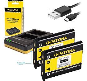 PATONA nabíječka Foto Dual Quick Olympus Li-40B/42B +2x baterie 500mAh USB