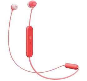 Sony WIC300 bezdrátová Bluetooth sluchátka douší, NFC, ovladač smikrofonem, červená
