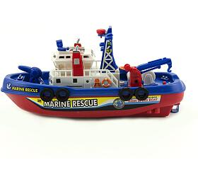 Loď/Člun plast 25cm nabaterie stříkací vodu nakartě