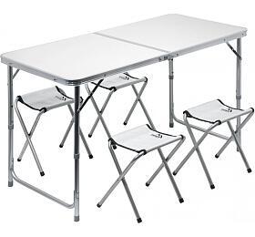 Stůl kemping DOUBLE teleskop. šedý + 4x židlička, CATTARA
