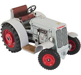 Traktor Schlüter DS25 šedivý naklíček kov 1:25 vkrabičce 17x11x10cm Kovap