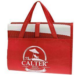 Plážová podložka CALTER - taška Rulyt, plastová, červená