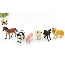 Zvířátka domací farma 6ks plast 9cm vsáčku 16,5x27x5cm