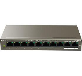 Tenda TEF1110P-8-102W PoE ATswitch -8x PoE 100 Mb/s +2x Uplink 1Gb/s, PoE max 102W, fanless