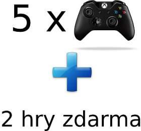 AKCE: 5x XBOX ONE -Bezdrátový ovladač Xbox One, černý +2 hry ZDARMA