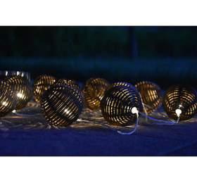 10 LED solární osvětlení -rattan koule