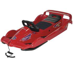 Bob plastový AlpenDoubleRace s volantem AlpenGaudi, červený