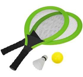 Set naplážové hry tenis/badminton 2xraketa Rulyt, soft miček, badm. Košík, zelená