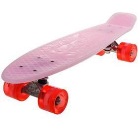 """Penny board 22"""" BURN RIDER růžový fosforeskující Sulov, blikající kolečka"""