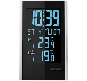 Ostatní Meteorologická stanice, bezdrátová, LCD s volitelnou barvou podsvícení, vnitřní/venkovní teplota, RCC, černá/stříbrná TE85