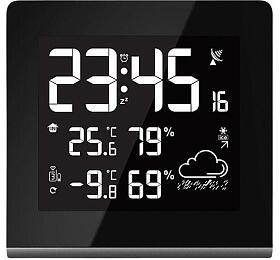 Ostatní Meteorologická stanice, bezdrátová, velký LCD svolitelnou barvou podsvícení, vnitřní/venkovní teplota, vlhkost, RCC, černá TE86