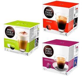 SET Nescafé Dolce Gusto Cappuccino, 16ks + Lungo, 16ks + Espresso, 16ks
