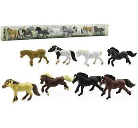 Koně plast 7cm 8ks vtubě 57x6x3cm