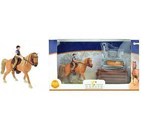 Sada kůň +žokej sdoplňky farma plast vkrabici 34x19x5cm