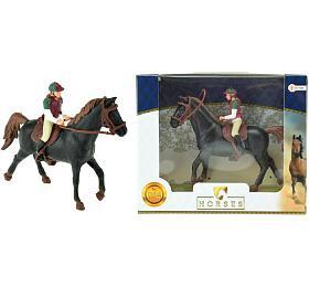 Kůň +žokej plast 13cm vkrabici 19x15x5cm