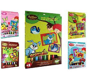 Malování barevným pískem/Pískování obrázků 2v1 asst mix motivů 17x26x2cm