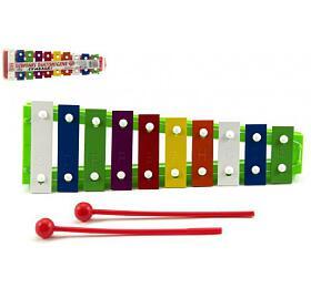 Xylofon kov/plast +2 paličky 26cm asst 3barvy vsáčku