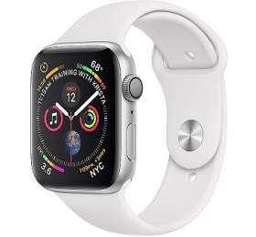 AppleWatch Series4 GPS,44mm Silver Aluminium Case with White Sport Band