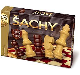 Šachy dřevěné společenská hra vkrabici 33x23x3cm