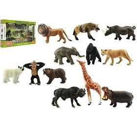 Zvířátka safari ZOO 12ks plast vkrabici 53x30x6cm