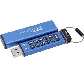 Kingston flash disk 8GB DT2000 256-bit AES šifrování USB 3.1 Gen1