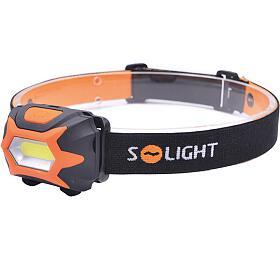 Solight čelová LED svítilna, 3W COB LED, oranžovočerná, 3x AAA WH25