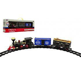 Lokomotiva/Vlak +vagónky sdráhou 11ks plast 45cm nabaterie vkrabici 55x19x10cm