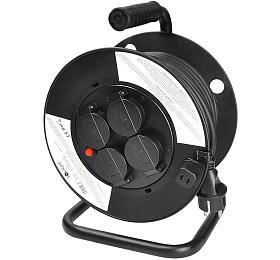 Solight prodlužovací přívod nabubnu, 4zásuvky, venkovní, 25m gumový kabel, 3x1,5mm2, IP44