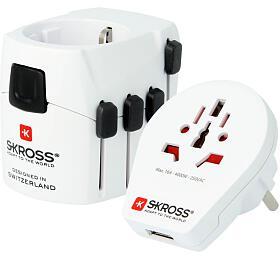 SKROSS cestovní adaptér SKROSS PRO World and USB, 6,3A max., uzemněný, vč. univerzální USB nabíječky, pro celý svět