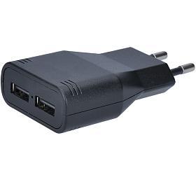 Solight USB nabíjecí adaptér, 2x USB, 3400mA max., AC 230V, černý
