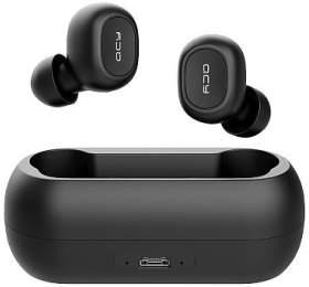 QCY - T1C, zcela bezdrátová špuntová sluchátka s dobíjecím boxem, černá, blistr