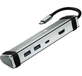Canyon dokovací stanice, 2 porty: 1*Type C male+1*Type C female+2*USB3.0+1*HDMI, Input 100-240V, šedá