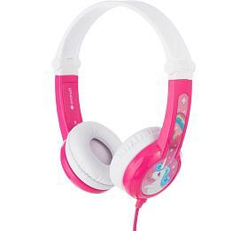 BuddyPhones Connect -dětská drátová sluchátka smikrofonem, růžová